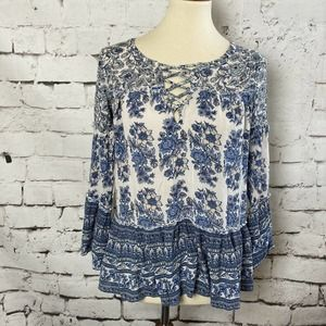 AMERICAN EAGLE Lace Up Detail Flowy Top Size XS